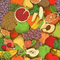 Padrão sem emenda de frutas frescas suculentas brilhantes
