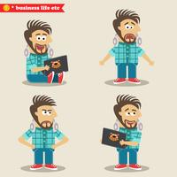 Young IT geek emotions in poses, standing set