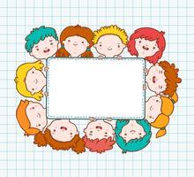 Doodle niños marco en blanco
