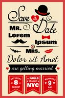 Wedding invitation card in hipster style