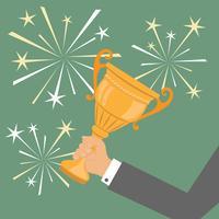 Trofeo a mano, simbolo di affari