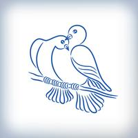 Symbol of two lovely pigeons