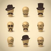 Conjunto de bigodes retro chapéus e óculos
