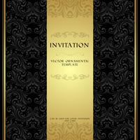 Carte d'invitation d'ornement noir et or