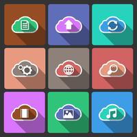 Iconos de diseño de interfaz de usuario de nube, sombras cuadradas