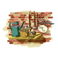 Hand drawn still life of gardening tools