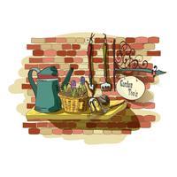 Hand gezeichnetes Stillleben von Gartenarbeitwerkzeugen