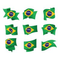 Set of Flags of Brazil Vector Illustration