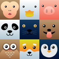 Colorful Simple Animal Faces Element Set
