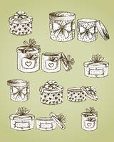 Conjunto de cajas de regalo presentes.
