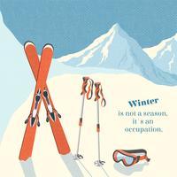 Fundo de paisagem de montanha de inverno esqui
