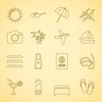 Generic travel iconset, contour flat vector