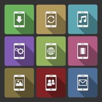 Insieme di progettazione dell'interfaccia utente di dispositivi mobili, ombre quadrate