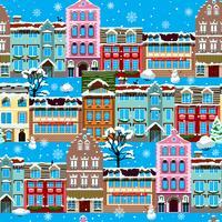 Winter houses seamless vector