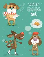 winter dog vector