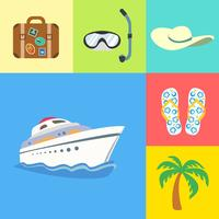 Vacation holidays and travel icons set