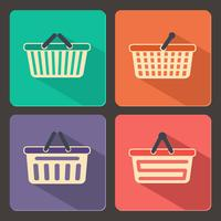 Set of shopping carts and baskets icons