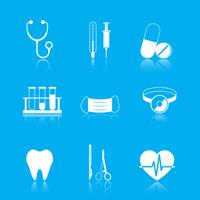 Health care tools icons set