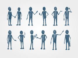 Set av doodle busines människor samarbete