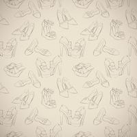 Seamless woman's stylish shoes sketch pattern vector