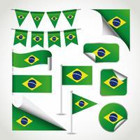 Brasilien Flagge Clipart Set