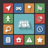 Conjunto de ícones de navegação, sombras quadradas