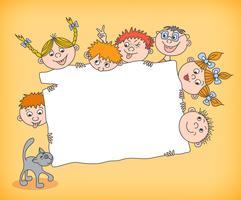 Doodle crianças segurando cartaz em branco