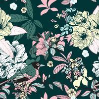 Blumen und Vögel nahtlos