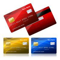 Tarjeta de crédito realista con chip de seguridad.