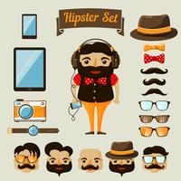 Elementos de personajes de hipster para nerd boy