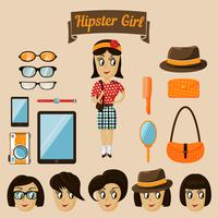 Hipster character elements for nerd woman vector