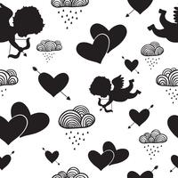 Love cupids hearts arrows and clouds seamless pattern