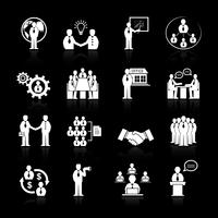 Business team meeting icons set