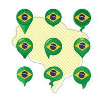 Ponteiro de bandeira e mapa do Brasil