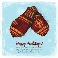 Knitted wool mittens background