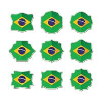 Brazil Flag Collection of Label, Stickers and Badge