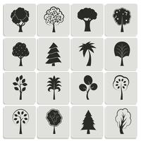 Green forest trees design elements
