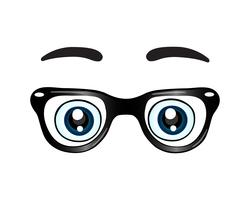 Glasses with eyes icon vector