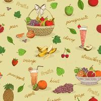 Modèle sans couture de fruits avec des noms