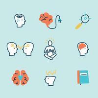 Doodled iconos de salud mental