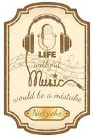 Cartel retro de música en vivo.