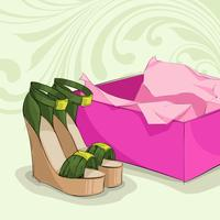 Modern woman's green sandals vector