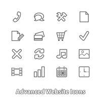 Conjunto de iconos de sitio web para compras en línea, contorno plano