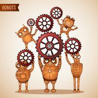 Concepto de trabajo en equipo con piñones y engranajes