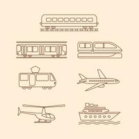 Transportation icons of tram, subway, train, airplane, helicopter, ship