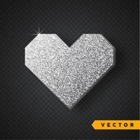 Vektor Silver glitter hjärta