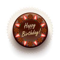 Torta de aniversário de chocolate com morangos