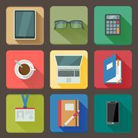 Affärssats ikoner på arbetsplatsen