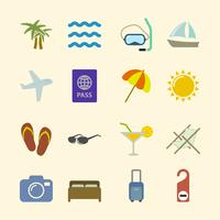 Conjunto de iconos de vacaciones, color de contraste