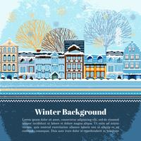 Winter invitation postcard template